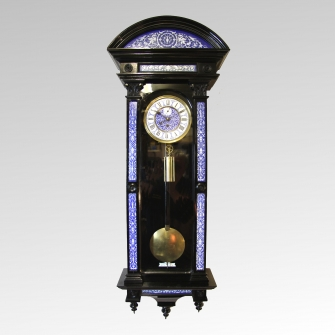 An exhibition quality rare and collectable, ebonised Vienna Regulator wall clock for sale.