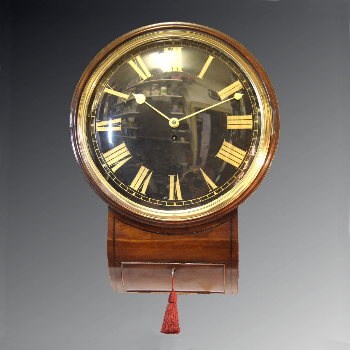 A Good And Rare Transitional English Drop Dial Fusee Wall Clock