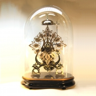 Smith's fusee skeleton clock with passing strike for sale.