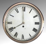 Early English dial clock with wooden dial for sale.