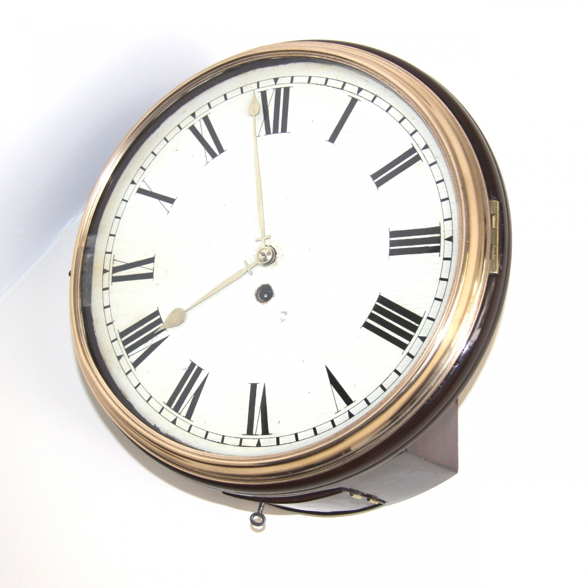 Early Fusee English Dial Clock With Wooden Dial For Sale