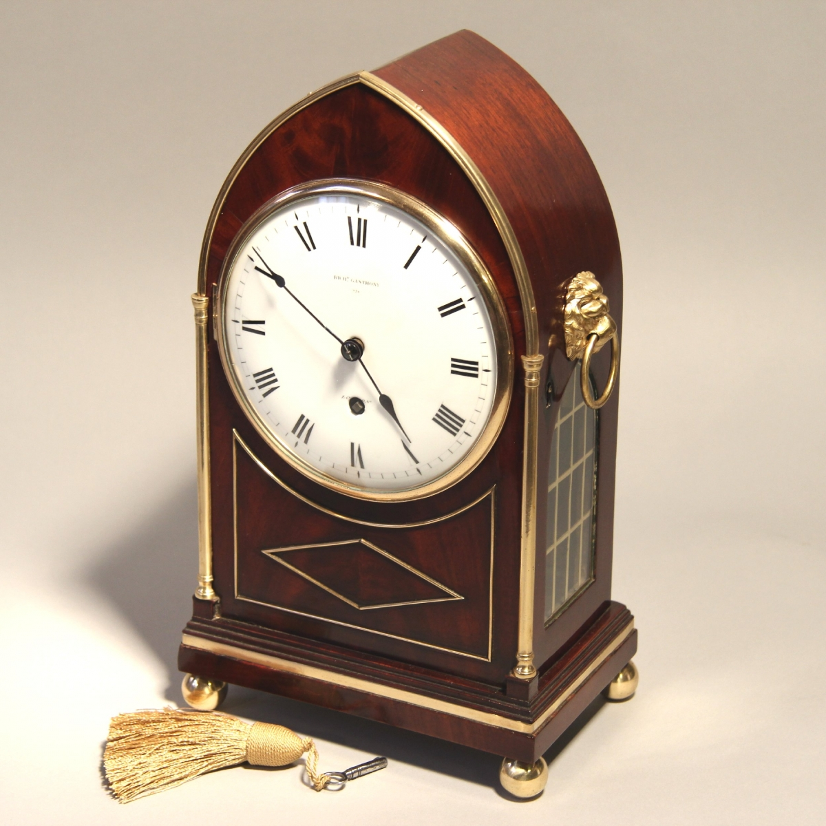 Rare Miniature English Regency Table Clock For Sale By