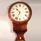 Rare English fusee wall clock incorporating a mercurial barometer.
