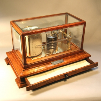 5 glass oak barograph for sale with chart draw.