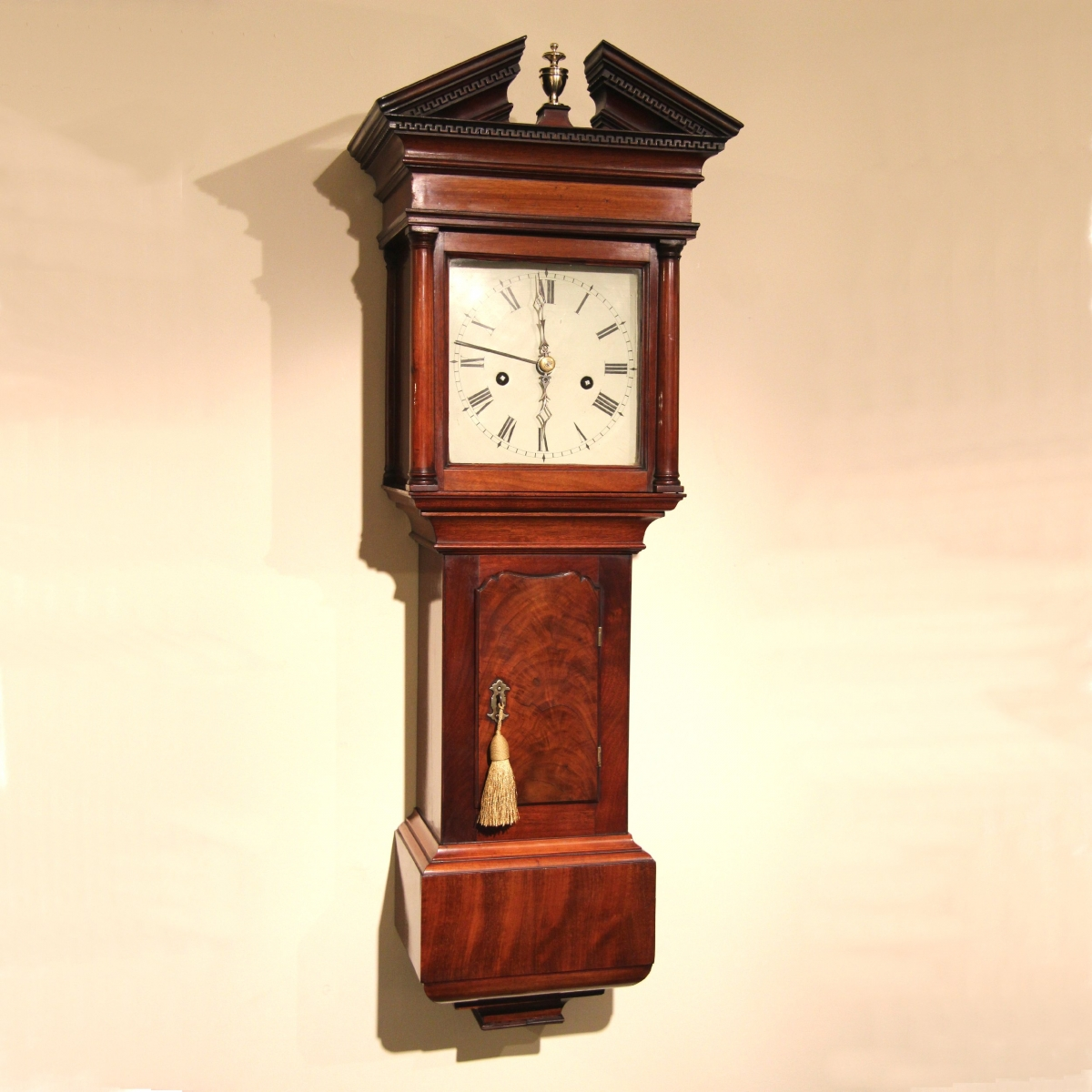 Rare And Good Hooded Trunk Wall Clock For Sale