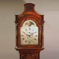 Moonphase mahogany longcase clock for sale by Richard Collis of Romford.