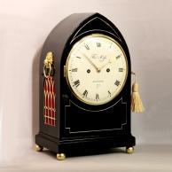 Regency ebonised Lancet style fusee English bracket clock for sale.