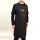Black cotton embroidered Clockmaker's aprons with front pockets and embroidery.