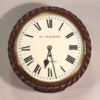 Small ropetwist drum fusee wall clock.