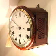 Small double fusee striking English dial clock for sale with only an 8 inch dial.