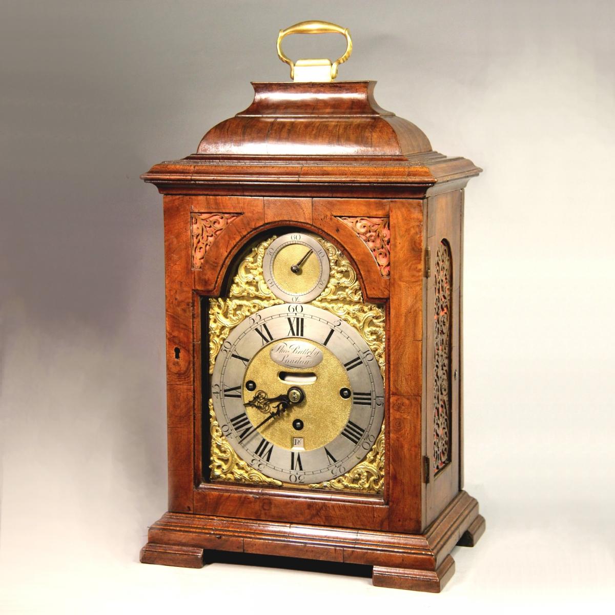 M C Taylor Small Walnut Verge Bracket Clock For Sale