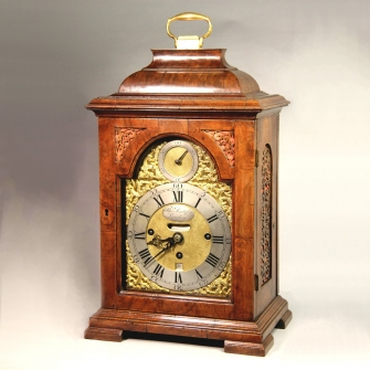 Small Walnut three train bracket clock for sale by Thomas Battely of London.