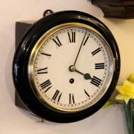 Small ebonised chain fusee, English Dial wall timepiece for sale. Circa 1920.