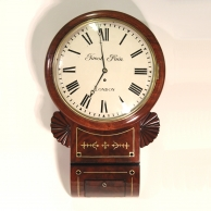 Fusee Regency Drop-Dial wall clock for sale with bow dial and mahogany case. Made by Jacob Pain of L