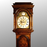 Green and brown lacquered longcase clock for sale by Joseph Lum. Circa 1720.