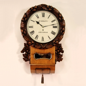 Oak English fusee drop-dial carved wall clock for sale. Victorian circa 1875.