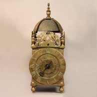 An early and rare lantern clock for sale by Thomas Wheeler of London. Circa 1656.