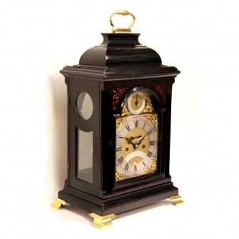Georgian ebonised bracket clock with verge escapement and repeating on bells. Circa 1750.