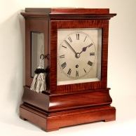 Five-glass mahogany, library mantel clock with chain fusee and maintaining power movement.