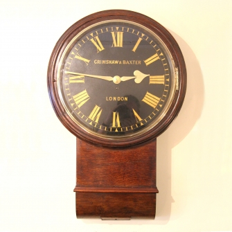 Large english drop-dial fusee wall clock for sale by Grimshaw and Baxter of London