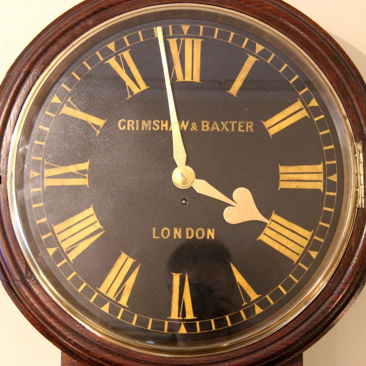 M C Taylor Large English Drop Dial Fusee Wall Clock