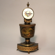 Small Regency, fusee painted mantel clock. Circa 1819.