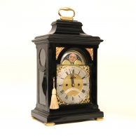 Verge escapement bracket clock. Rare London moonphase dial, ebonised case. Circa 1770.