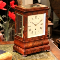 Four glass library mantel clock by Boxell of Brighton for sale.