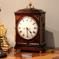English Regency, chamfer top mahogany bracket clock circa 1820.