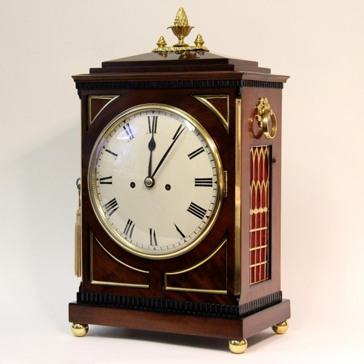 English Regency Chamfer Top Mahogany Bracket Clock Circa