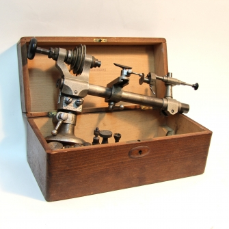 8mm watchmaker's lathe for sale. German, circa early 20th century.