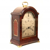 Georgian Verge escapement Bracket clock. With a mahogany break-arch case and silvered dial. Circa 17