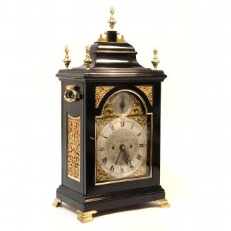Georgian Bell top, fusee bracket or table clock. In an ebonised case circa 1775.