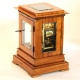 English 5 glass library mantel clock. Fusee movement by Connell and in a small satinwood case. Circa