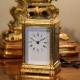 French repeating carriage clock in an engraved Gorge case. Circa 1870.