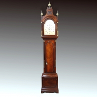 Georgian mahogany longcase clock with silvered dial. By Leplastrier of Deal. Circa 1790.