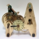 Small 'Stable' or 'Turret' clock movement, weights, pendulum and keys.