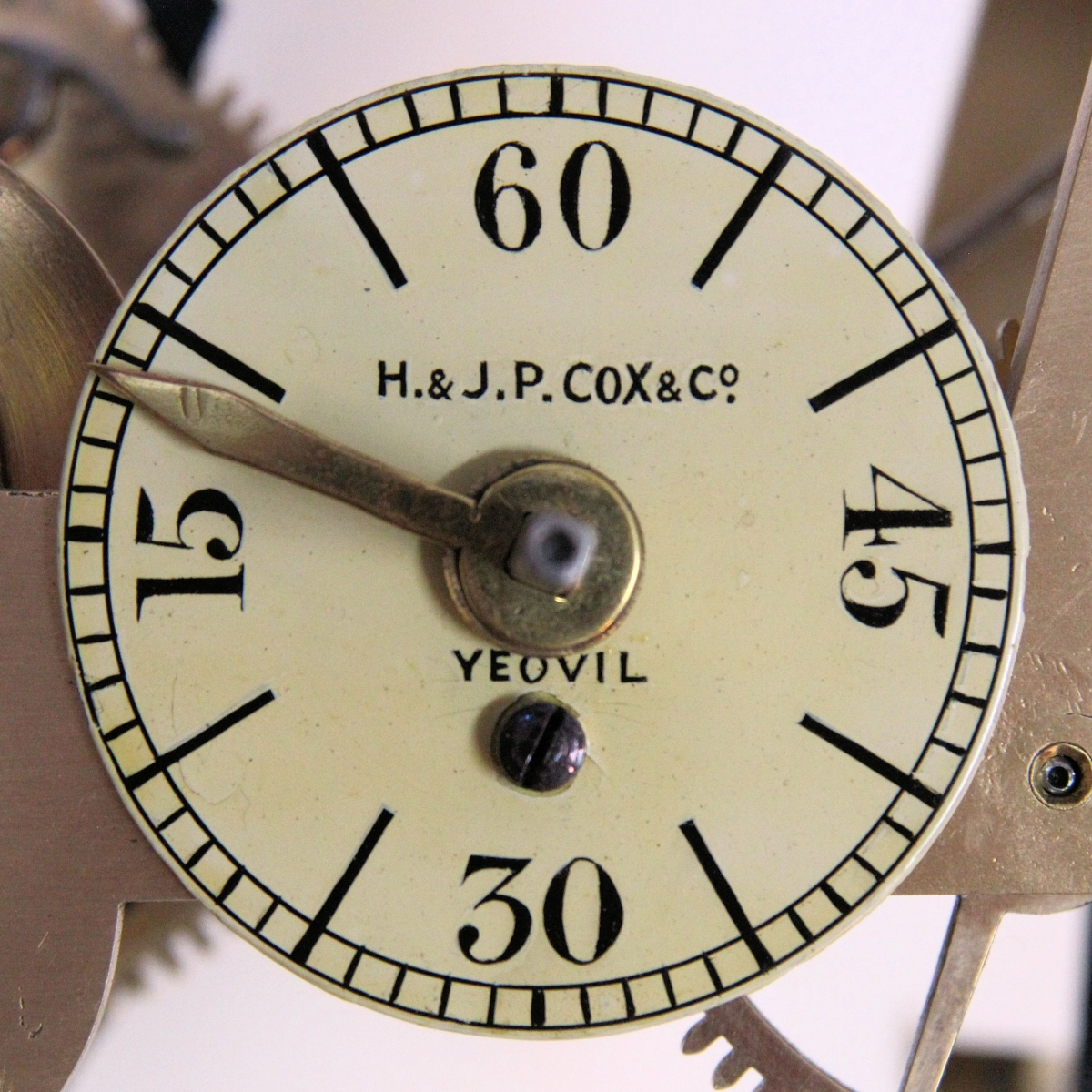 Small 'Stable' or 'Turret' clock movement, weights, pendulum and keys