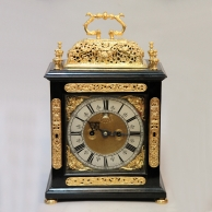 Early English Bracket clock with Repousse basket top. Made by Edward Coupe (also Cowpe) Circa 1690.
