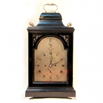 Georgian English Table clock with silvered mounts and dial. Circa 1795.