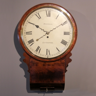 Good English fusee Drop dial wall clock. Circa 1825.