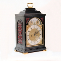 Benjamin Vulliamy, Verge bracket clock. Quarter repeating in a small ebonised case. Numbered 272, Ci