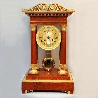 A Fine and rare, French four pillar bracket or table clock. Of large size. Early 19th century.