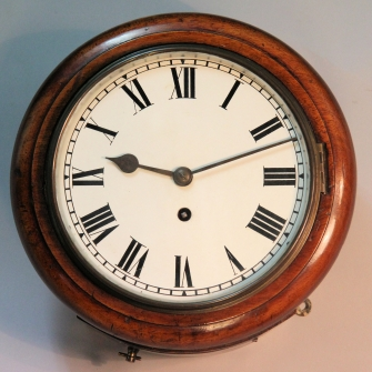 Small english dial, fusee wall clock with an 8 inch dial and mahogany case. Circa early 1900's.