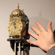 Miniature striking English lantern clock by Henry Burges, London. Circa early 18th century.