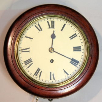 Small english dial, fusee wall clock with an 8 inch dial and mahogany case.