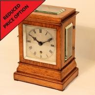 English Fusee 5-glass Library clock in a small, light oak case. Circa 1850.
