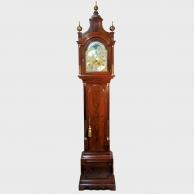 London mahogany longcase clock with phases-of-the-moon. By James De Lasalle. Circa 1770.
