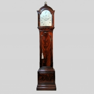 A fine London mahogany, silvered dial longcase clock by Archibald Collier, Bond St. Circa 1785.