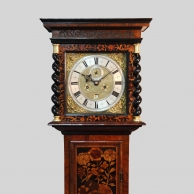 "English walnut & Marquetry longcase clock with an 11"" dial, made by John Clowes of London."